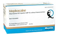 Mepivacaine HCL 3% Plain Injection w/o Vasoconstrictor